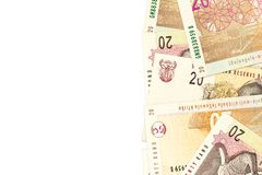 Some 20 south african rand banknotes with copyspace. Some 20 south african rand banknotes with copy space stock photography