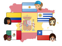 Some Spanish speaker countries Stock Photo