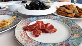 Some spanish tapas such as serrano ham Royalty Free Stock Images