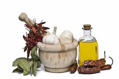 Some spices and olive oil. Stock Images