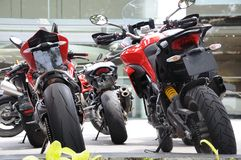 Some sports bike parked on display. A photo taken on some sports motorcycles parked on display royalty free stock image