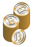 Stacked bitcoins Stock Image