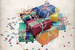 Some stacked presents. Many colorful presents stacked on each other Stock Photo