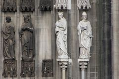 At Cologne Cathedral. Some statues at the Cologne Cathedral Royalty Free Stock Photo