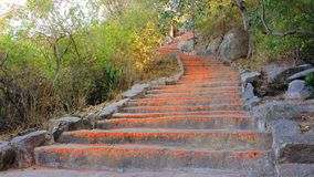 Some of the 1000 steps to Chamundi Hill, Mysore, India. Onethousand powder colored stairs to the top to Chamundi Hill temple made for worshipping pilgrims Royalty Free Stock Images