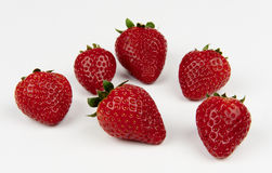 Strawberries. Some strawberries on white background royalty free stock photography