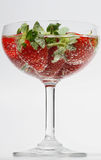 Strawberry bubbles in glass,  on white background Stock Photos