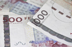 some swedish 500 and 1000 bills Stock Photography