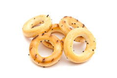 Some tasty bagels. On white background closeup Royalty Free Stock Images