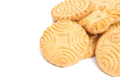 Some tasty cookies on white. Some tasty cookies closeup on white background Royalty Free Stock Image