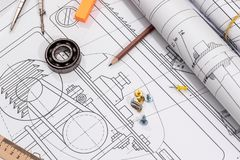 Some technical drawing and work tools.  Royalty Free Stock Photo