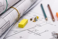 Technical drawing and work tools. Some technical drawing and work tools Royalty Free Stock Image
