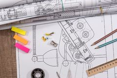Technical drawing and work tools. Some technical drawing and work tools Stock Photo