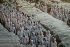 Some terracotta soldiers of the Terracotta Army, part of the Mausoleum of the First Qin Emperor. Xian, Shaanxi, China - 08 12 2016: Some terracotta soldiers of royalty free stock photography
