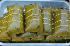 Some Thai sweetmeat, Khao Tom Mad or Khao Tom Pad. Some Thai sweetmeat, creative food Khao Tom Mad or Khao Tom Pad royalty free stock image