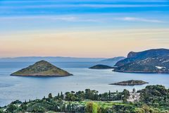 Some of thousands small uninhabited greek islands in Aegean sea.  Royalty Free Stock Photography