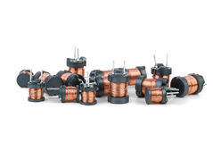 Some tiny inductors. On the white background Stock Photography