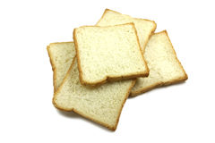 Some toasted bread. On a white background royalty free stock photos