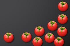 Some tomatoes on dark. Illustration of few tomatoes on dark grey background Stock Image