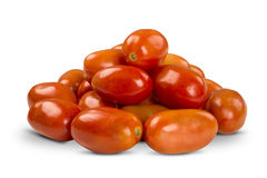 Some tomatoes over a white background. Fresh vegetable stock photo