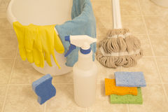 Some tools for cleaning house. Tools prepare for cleaning house royalty free stock image