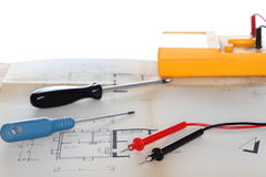Some tools and a plan Stock Photos