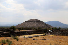 Some tourist on the Pyramids of Teotihuacan, Mexico. Royalty Free Stock Photography