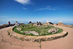 Some tourist are taking pictures from Alto de Garajonay  in La Gomera island. Stock Images