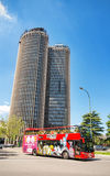 Some tourist are visiting the city of Madrid on a touristic Bus Stock Images