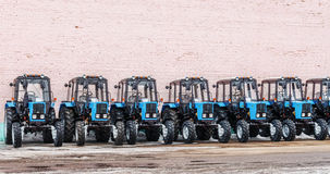 Some tractors in stock. Winter Belarus Vitebsk 2013 Royalty Free Stock Photography