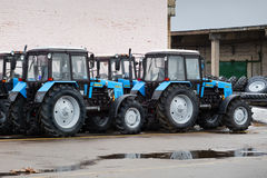 Some tractors in stock. Some tractors in stock at Winter. Belarus. Vitebsk. 2014 stock photo