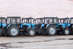 Some tractors in stock. Some tractors in stock at Winter. Belarus. Vitebsk. 2014 royalty free stock photos