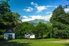 Some traditional houses in the mountains summer. See my other works in portfolio stock image