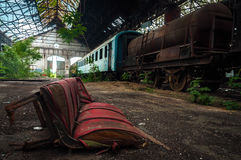 Some trains at abandoned train depot Stock Image