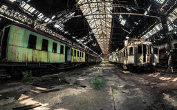 Some trains at abandoned train depot Royalty Free Stock Photography