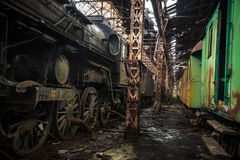 Some trains at abandoned train depot Stock Photos
