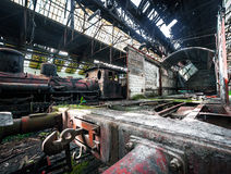 Some trains at abandoned train depot Royalty Free Stock Images