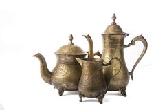 Some turkish vintage coffee pots isolated on white. Background royalty free stock photography