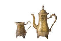 Some turkish vintage coffee pots isolated on white. Background royalty free stock photos