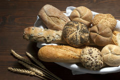 Some types of bread. Different types of bread in a basket Royalty Free Stock Photo
