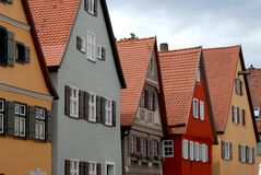 Some typical colorful houses in the town of Dinkelsbuh lin Germany. Photo made in Dinkelsbuhl town in Germany. In the picture you see, side by side, some typical stock photography