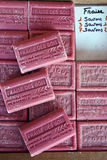 Some typical handmade Provence soaps. Some typical handmade and natural Provence soaps pieces Stock Photo