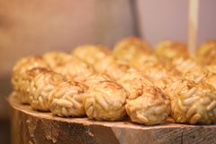 Some typical Spanish pastry `panellets` in Catalonia at All Saint`s Day. royalty free stock image
