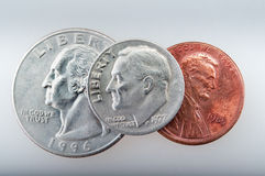 Some U.S. coins. Different U.S. coins as a simple background royalty free stock photo