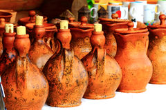 Some unique ceramic jugs. Some unique handicraft ceramic jugs Royalty Free Stock Photos