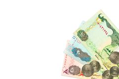 Some united arab emirates dirham bank notes and coins. With copy space, specimen royalty free stock photos