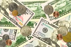 Some united states dollar bank notes and coins. Specimen stock photos