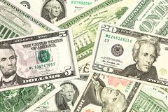 Some us-dollar bank notes. Specimen royalty free stock photos