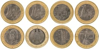 European 1 Euro Coins front and back isolated on white backgro. Some used European 1 Euro Coins front and back isolated on white background royalty free stock images