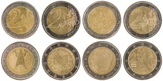 European 2 Euro Coins front and back isolated on white backgro Stock Image